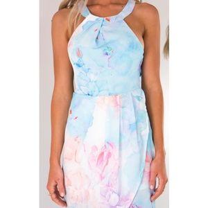 Showpo Watercolor Floral Halter Maxi Slit Dress